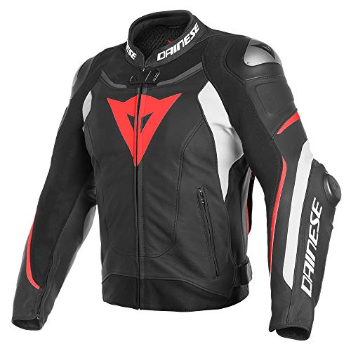 Price comparison product image Dainese Super Speed 3 Mens Leather Jacket Black / White / Fluo Red 58 EUR / 48 USA