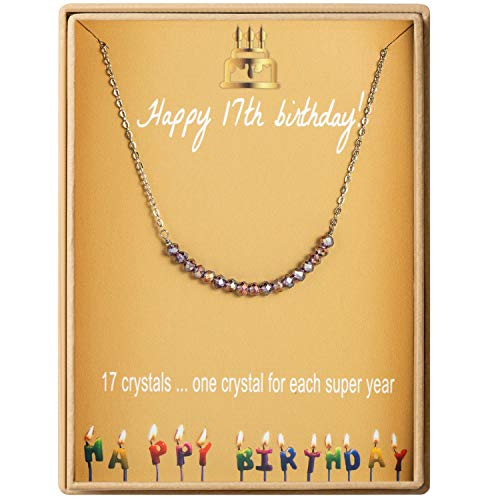 17th Birthday Gifts Necklace for Girls S925 Sterling Silver Necklace 17 Crystal Beads for 17 year old Girl Jewelry Gift for Her Jewelry Gift Idea