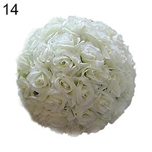 8 Inch Wedding Artificial Rose Silk Flower Ball Hanging Decoration Centerpiece Ameesi 110