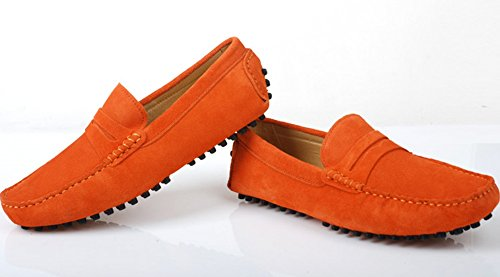 Santimon - Mens Casual Comfort Genuine Nubuck Leather Outdoor Low Boat Shoes Moccasin Loafers Orange gdJoHeHu