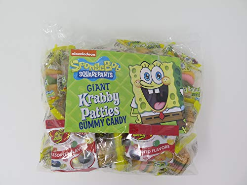 Spongebob Squarepants Giant Krabby Patties Gummy Candy (Pack of 26) with Free Jelly Belly Beans