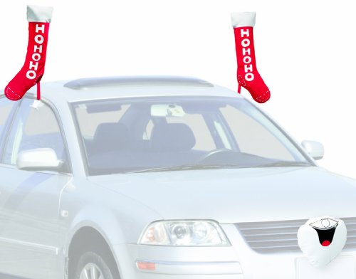 Mystic Industries Stocking and Santa Face Vehicle Costume (Holiday Car Costume)