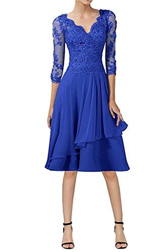 Festlichkleider Damen A Knielang Abendkleider Brautmutterkleider Royal Linie Charmant Promkleider Blau Spitze Kurz 7SwdSqY