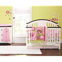 New Baby Girls Sweet Zoo Safari 9pcs Crib Cot Bedding Set with musical mobile