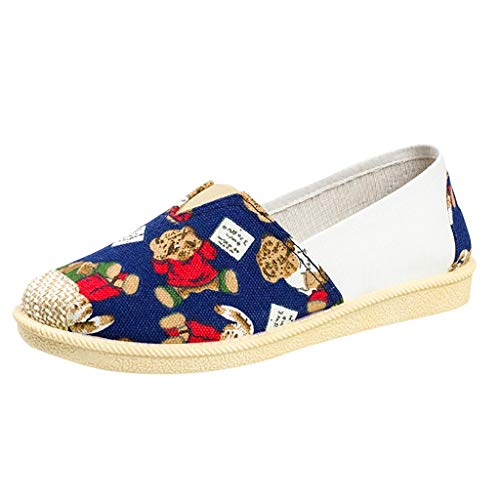 Women's Casual Canvas Boat,SMALLE◕‿◕ Women's Comfortable Slip-On Embroidery Sandal Round Open Toe Flats Loafer Blue ()