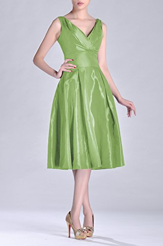 Formal Dress V A Modest neck bridesmaids Tea Graugrün Pleated Length line Taffeta Bridesmaid 1rZ1wq
