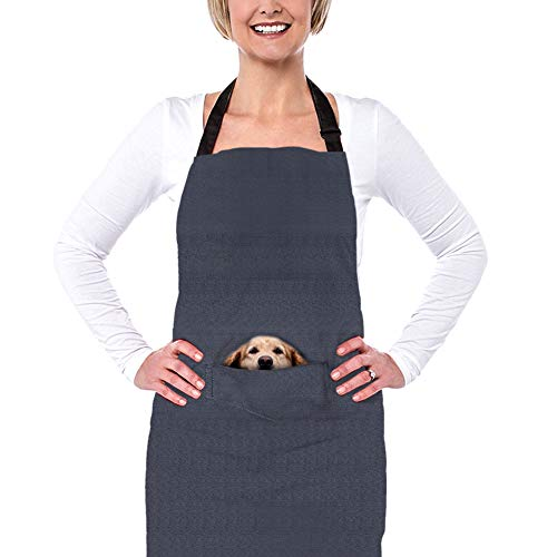 HUGS IDEA Funny Cooking Aprons Pocket Animal Puppy Print Grey Kitchen Apron for Adjustable Women Men