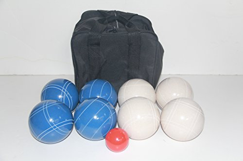 Premium Quality and American Made, 110mm EPCO Bocce Set - blue and white balls and black bag by BuyBocceBalls