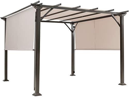 Tangkula 10 X 10FT Outdoor Pergola Gazebo, Outdoor Patio Furniture Sturdy Steel Frame Sun Shelter w Retractable Canopy Shades, Rustproof Metal Pergola for Patio, Backyard, Garden Beige