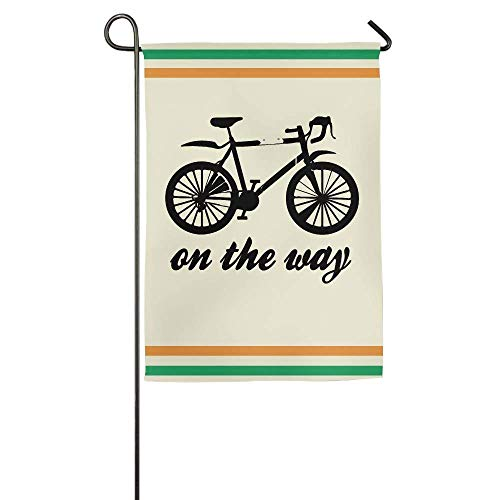 HUVATT Bike On The Way Garden Flag Indoor & Outdoor Decorative Flags for Parade Sports Game Family Party Wall Banner 28 x 40 inch