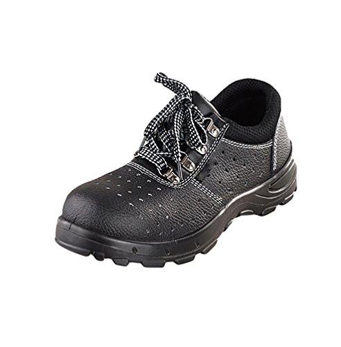 NiSeng Hombres casual botines para invierno antideslizante zapatos con punta de acero de seguridad Negro