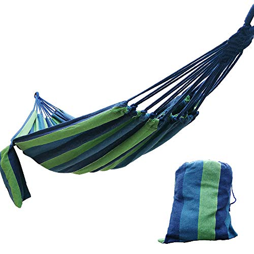 - CARAPEAK Extra Large Brazilian Cotton Polyester Double Hammock for Garden, Backyard or Camping - Indoor Outdoor - Comfortable 2 Person Portable Folding Hammock Bed (146