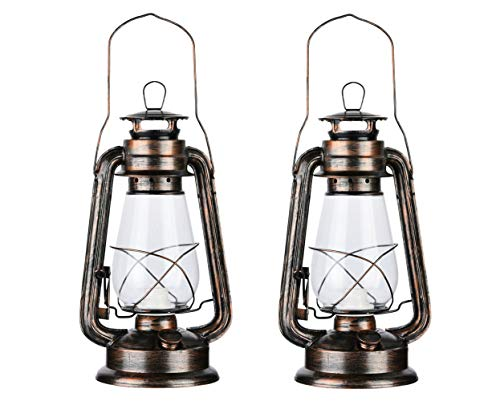 PACK OF 2 Vintage Rustic Accent Old Fashioned Electric Lantern Oil Lamp with Edison LED Bulb Bronze Rust Finish Dimmable Nightstand Desk Table Lamps for Antique Designer Light Study Room 12