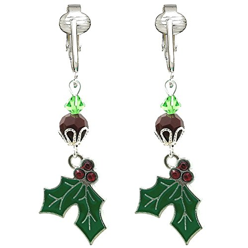 Fun Christmas Clip-on Earrings for Ladies & Girls-Angels, Trees, Santa, Lights, Holly Berry, Snow Holiday (Holly 'n Berries)