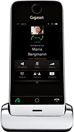 Gigaset SL910H - Teléfono fijo digital (inalámbrico, pantalla táctil, USB), negro y plateado [Versión Importada]