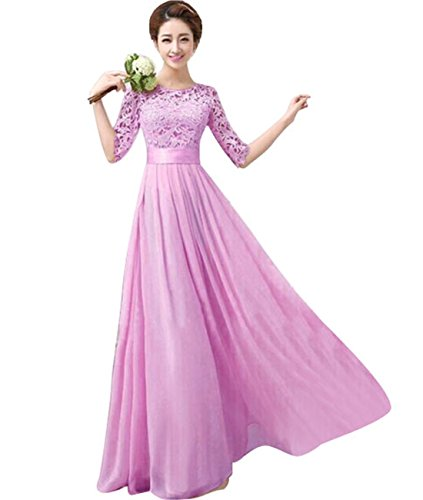 Vakind® Women Lace Chiffon Prom Ball Party Dress Bridesmaid Formal Evening Gown (M=US6-US8, Light Purple)