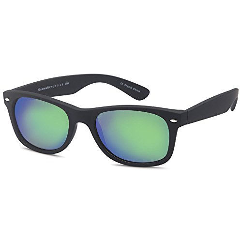 GAMMA RAY UV400 52mm Adult Classic Style Sunglasses – Mirror Green Lens on Matte Black - 52mm Sunglasses