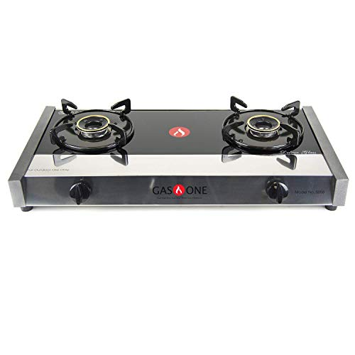 - Gas One 5058 Premium Gas Stove Range with Propane Regulator-2 Burner Tempered Glass Cooktop Auto Ignition