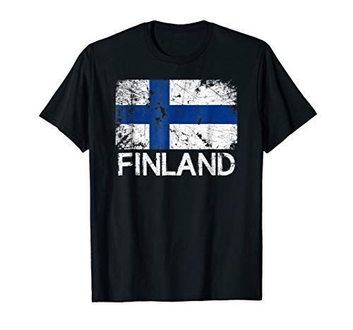 Finnish Flag T-Shirt | Vintage Made In Finland Gift