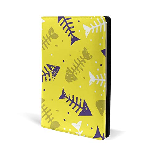 Fun Fishbone Pattern Book Covers Leather School Textbook Notebook Paperback A5 8.7x5.8 inch for Kids Girls, Yellow - Fishbone Cover