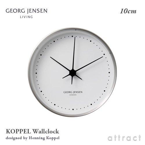 【正規取扱店】 GEORG JENSEN ジョージジェンセン Koppel コッペル Wall Clock ウォールクロック 10cm 掛け時計 ステンレス 胴 カラー:4色 デザイナー:ヘニングコッペル (シルバー×ホワイト) B01LENEU66シルバー×ホワイト