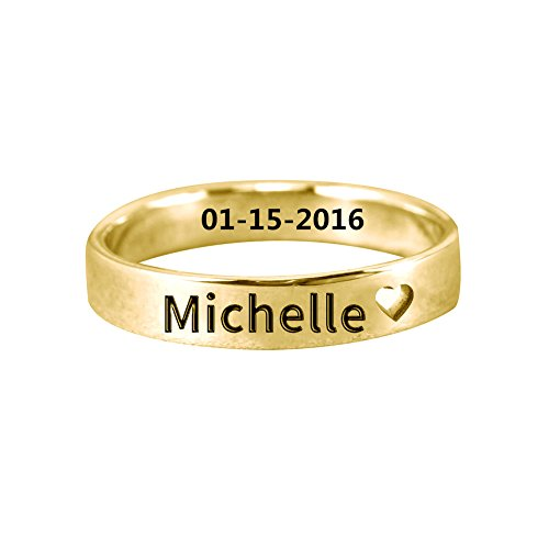 Ouslier Personalized 925 Sterling Silver Cut Out Heart Name Ring Jewelry Custom Made with Any Names (Golden) Custom Made Silver Ring