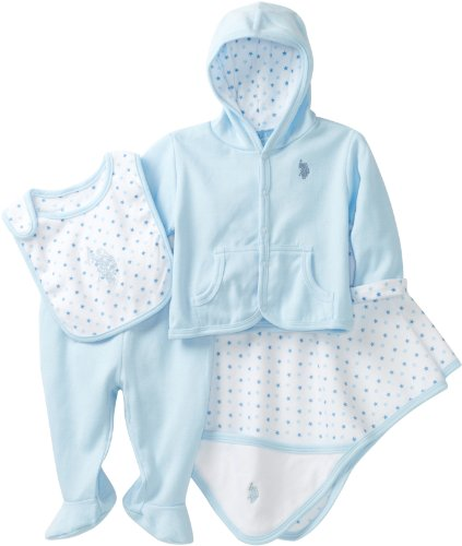 U.S. POLO ASSN. Baby-Boys Newborn Four Piece Bib Pant Gift Set