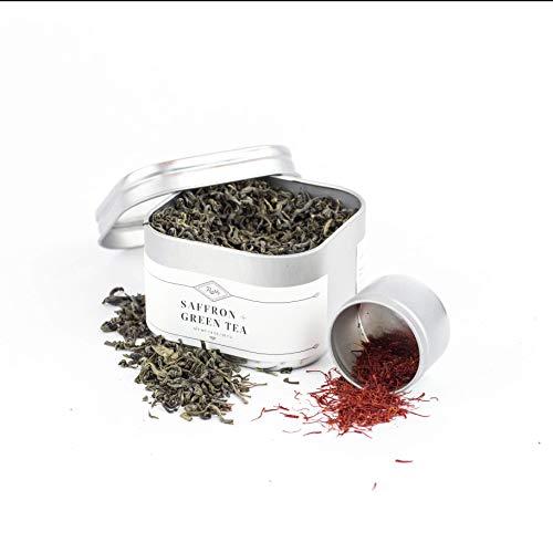 Rumi Spice Afghan 1g Saffron & Finest Organic Loose-leaf Green Tea Gift Set, Exotic Seasoning, Antioxidants, Handpicked, Highest Rated World-wide, Non-GMO, Gluten Free, Vegan, Taste of Luxury - 1.8oz