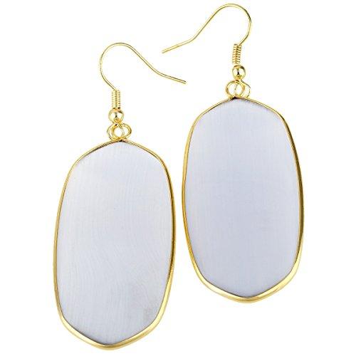 rockcloud Cat's Eye Stone Dangle Hook Earrings Oval Gold Plated Cat Eye Oval Earrings