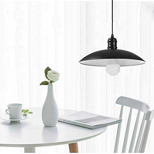 (Industrial Ceiling Light Vintage Farmhouse Flush Mount Ceiling Light Dome Shaped Metal Hanging Fixture Pendant Lighting Mount Ceiling Light Shipped From USA (Black))