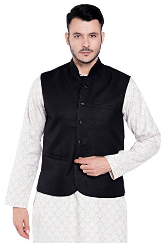 Shatranj Men's Indian Mandarin Collar Nehru Button Down Vest with Three Pockets; Black; SM by Shatranj