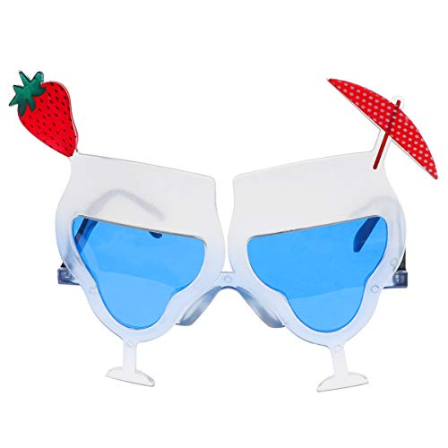 AMOSFUN Hawaii Strawberry Tequila Cocktail Cup Eyeglass Novelty Summer Sunglasses Funny Eyewear Sunglass for Sea Beach Party Costume Accessories Photo Prop (Cocktail Novelty Sunglasses)