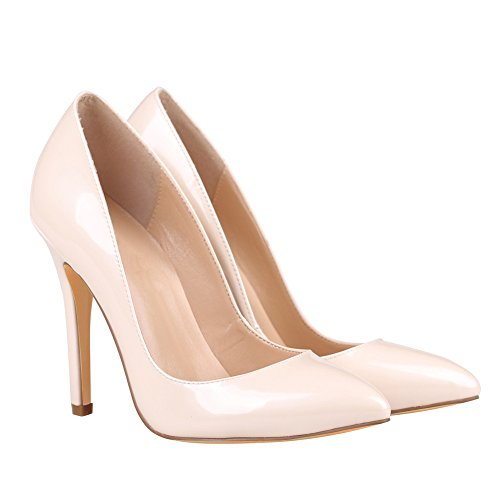 Slip Solid Court On Pointed Patent Shoes Beige Toe Kolnoo Pumps Women's 100mm High Heel xq0w4PFz