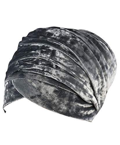 Women Turban Hat Head Wrap - Black African Velvet Magic Headband Turbans Headwrap