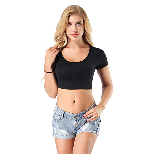 PARTY LADY Women's Scoop Neck Crop Top T-Shirt Size L Black-03 ()