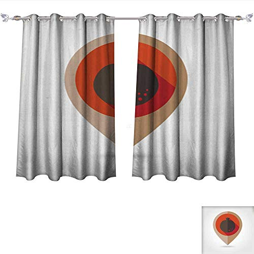 Youdeem Blackout Grommet Curtains Garnet Flat Mapping pin icon 3 Layers High Density & Noise Reduction Fabric W72 x L72/Pair