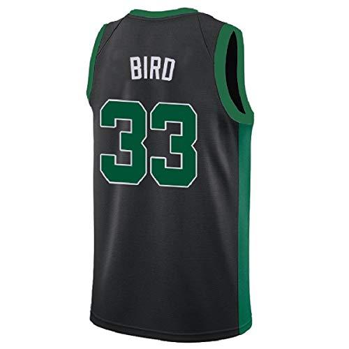 Men's Bird Jersey Boston 33 Basketball Jersey Larry Jerseys Green White and Black(S-XXL) (M, Black)