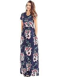Women's Floral Print Crew Neck Short Sleeve Maxi Casual...