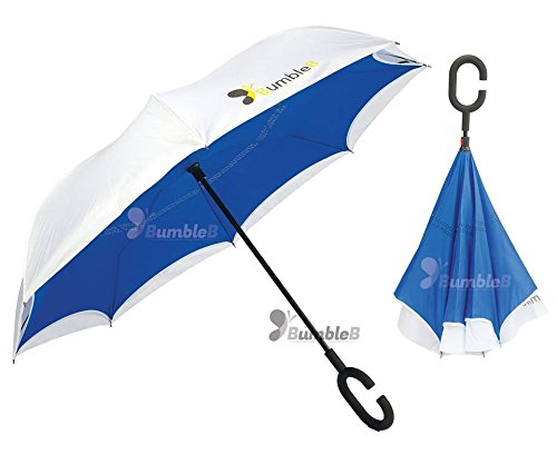BumbleB Inverted Umbrella Reverse Windproof Outdoor Folding Double Layer with C shape Handle, Self Standing, Inside Out, Upside down Hand Free, for Car Use Unique colors   B06XNKRDLP