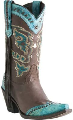 LUCCHESE M5022.S53F WOMEN/'S CHOC TURQUOISE WESTERN BOOTS