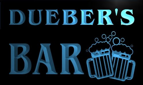 w119791-b DUEBER'S Name Home Bar Pub Beer Mugs Cheers Neon Light Sign
