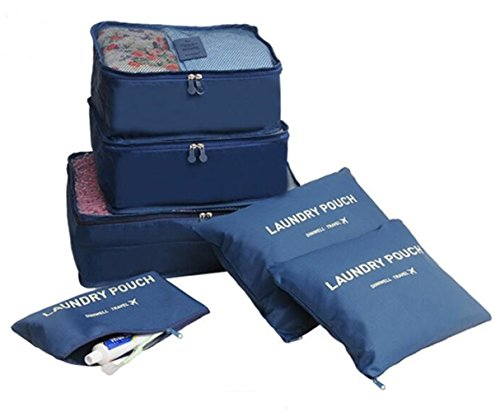 DINIWEL 6 Set Travel Luggage Packing Organizers, 3 Packing Cubes, 3 Laundry Pouch (Deep Blue) by Diniwell