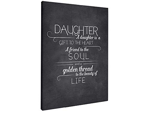 ALL DECOR A Daughter is A Gift to The Heart Motivational Print Artwork Wall Art Canvas Prints Home Bedroom Decorations Stretched and Framed Ready to Hang (16 X 24 in)