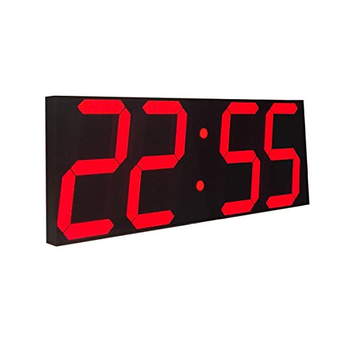 Goetland 16 3/4 Jumbo Wall Clock LED Digital Multi Functional Remote Control Countdown Timer Temperaturer, Red Digital on Black Background