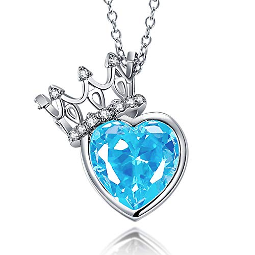 Vibrille Sterling Silver Lab-Created Gemstone Heart Blue Topaz Crown Pendant Necklace for Women, 18 Inch