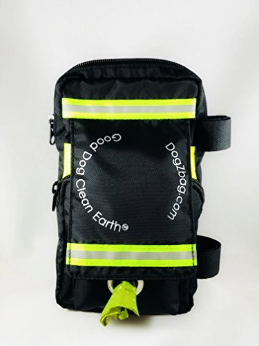 Dog Walking Bag - 5 separate pockets. Holds keys, cash, dog treats, poop bags, cell phone, water bottle and used waste bags. Easily attaches to your leash. Black with neon green reflective tape. (Dog Leash Wallet)