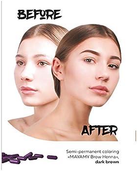Tinte de cejas de Henna, hasta 6 semanas de duración, para profesionales, Varios colores, 30 Cápsulas, 90 aplicaciones (marrón clásico) (marrón ...
