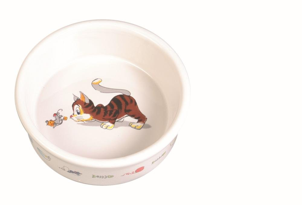 Trixie Ceramic Cat Bowl with Motif, 0.2 Litre, White 4011905040073