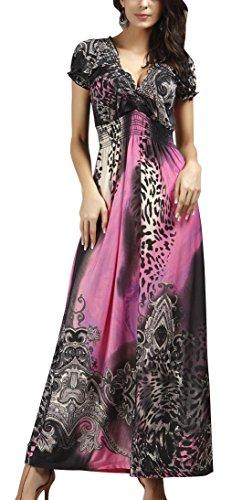 Creabygirls-Womens-Sexy-Tropical-Leopard-Print-V-neck-Maxi-Summer-Dress