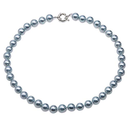 (JYX Pearl Necklace 10mm Gray South Seashell Pearl Necklace Round Beads Jewelry for Women 18